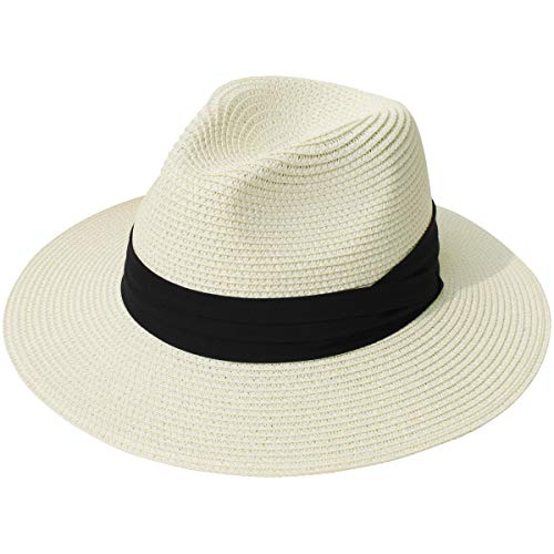 (Lanzom Women Wide Brim Straw Panama Roll up Hat Fedora Beach Sun Hat UPF50+ (Beige))