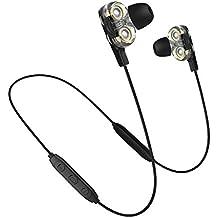 Bluetooth Headphones,Dual Driver Earbuds Wireless Earphones Microphone Volume Control Deep Bass High Headset Samsung, Android