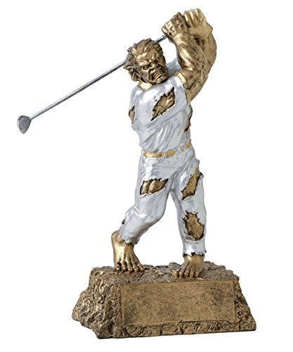 Monster Golf Trophy - Detailed Gold and Silver Finish - Engraved Plates by Request - Perfect Golf Award Trophy - Hand Painted Design - Made by Heavy Resin Casting - for Recognition - Decade Awards