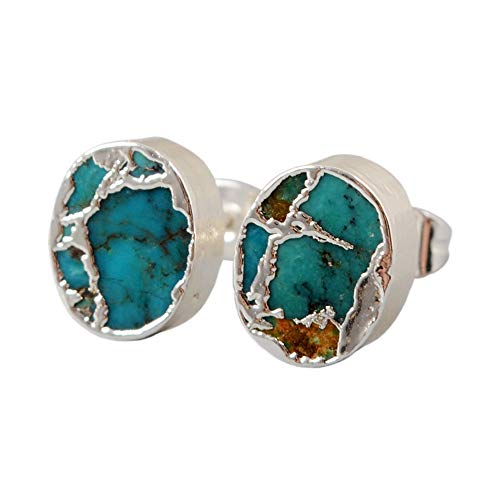 ZENGORI 1 Pair Oval Gold Plated Copper Natural Turquoise Post Stud Earrings -