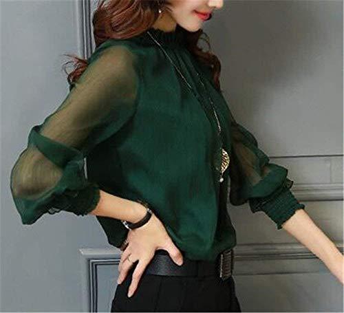 Chemisier Mode Vert Manche Dsinvolte Shirt Haut Manches Demi Mousseline Longue Col Fashion Chic Blouse Femme Manche Long Haut Printemps Uni Automne Elgante Tops U1wznqB