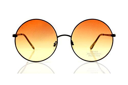 FBL Retro Hippie Oversize Round Oceanic Color Lens Sunglasses A081 (Black/ Orange - Glasses Lens Orange