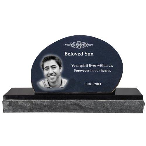 - Photo Laser Engraved Garden Stone Memorial- Oblong Headstone