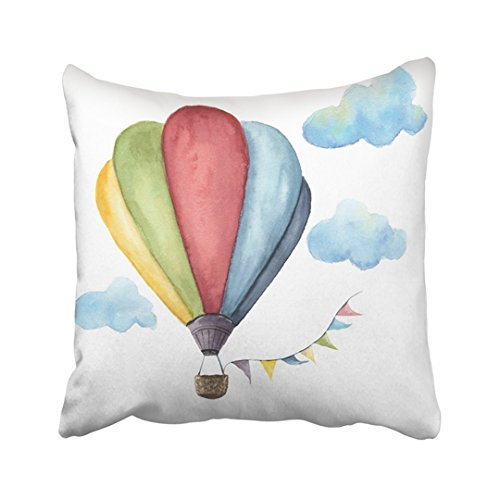 Emvency 18X18 Inch Decorative Throw Pillow Cover Polyester Blue Watercolor Hot Air Balloon Vintage With Flags Garlands Clouds Polka Dot And Retro Cushion Two Sides Pillow Case Square Print For - Balloon Air Pillow Hot
