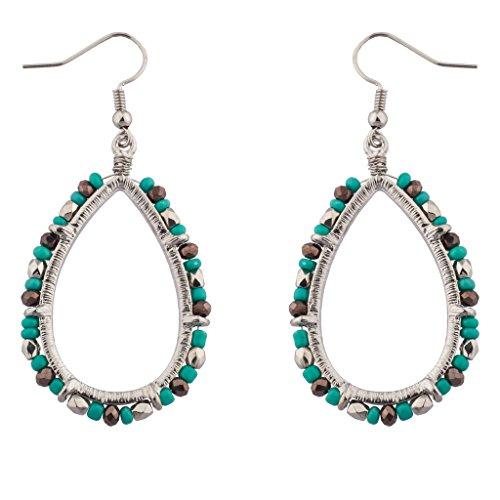 Teardrop Beaded Earrings - Lux Accessories Teardrop Synthetic Turquoise Beaded Dangle Earrings