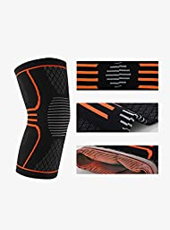 Superior Flex Pro Athletes Recovery Knee Support Sleeve,Knit Fabric Solid Fitness Compression Brace,Relief of Arthritis and Joint Pain,for Running,Jogging,Workout,Climbing,Single(Orange,Medium)