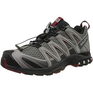 Salomon Men's Trail Running Shoes, XA PRO 3D, Grey (Monument/Ebony/Red Dahlia Monument/Ebony/Red Dahlia) Road Running Shoes On Trail