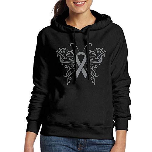 NVWEIYIJW Ribbon Butterfly Brain Cancer Pullover Hoodie Ladies' Long Sleeve Tops Hooded Sweatshirts