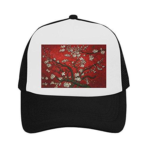 Red Almond Blossom by Vincent Van Gogh Classic Vintage Mesh Trucker Cap Baseball Hat Black ()