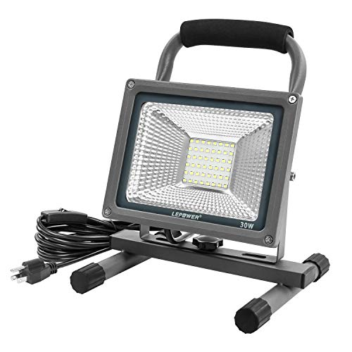 LEPOWER LED Work Light 30W, Portable Work Light with Stand, IP66 Waterproof Outdoor Flood Light, 3000LM/6500K, Adjustable Standing Work Light for Garage, Workshop, Construction Site(White Light)