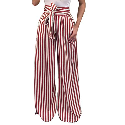 (TOPUNDER Bandage Elastic Waist Casual Trousers Women Striped High Waist Harem Pants Wine)