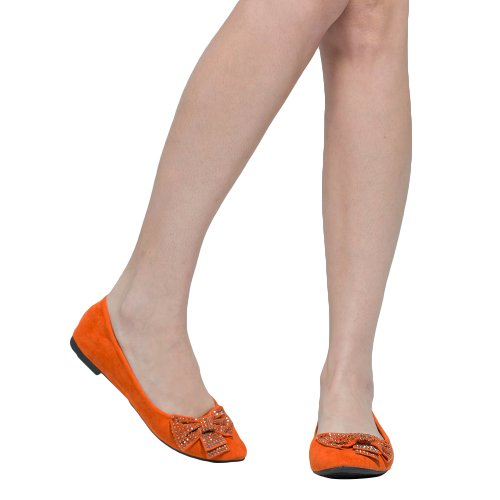 Womens Ballet Flats Studded Bow Accent Slip On Comfort Shoes Orange mCl1tqmHR