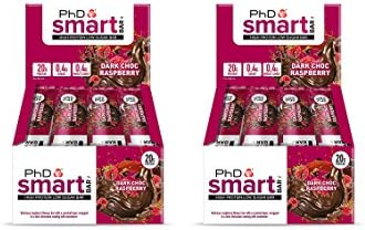 PhD Smart Bar High Protein Low Carb Bar, Dark Choc Raspberry, 2er Pack (2 x 12 Stück) 24 bars x 64 g