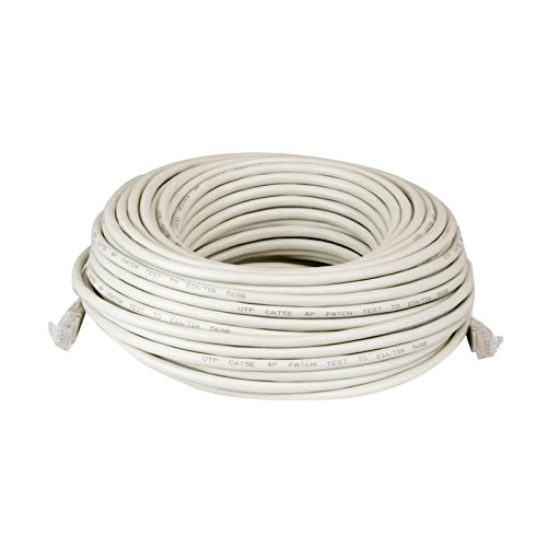 100' Computer - 100FT Feet CAT5 Cat5e Ethernet Patch Cable - RJ45 Computer Networking Wire Cord (White)