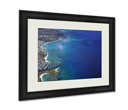 Ashley Framed Prints, Waikiki Ala Moana Beach Park Kapiolani Park Harbor Condos Di, Black, 20x25 Art, - Moana Waikiki Center Ala