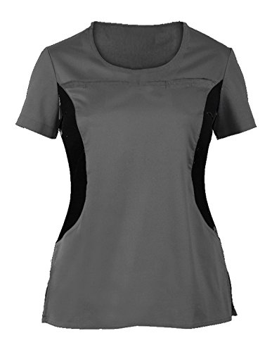 G Med Women's V Neck w. Knit Panels Scrub Top and Pant 2 Piece Fashion Sets(SET-MED,DGYA1-M)