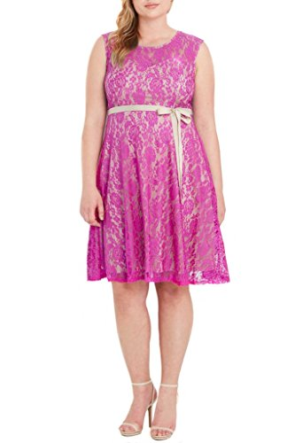 Poshsquare Women's Sleeveless Lace Floral Sweetheart Fit and Flare Wedding Cocktail Evening Party Plus Size Dress USA Fuschia 1XL