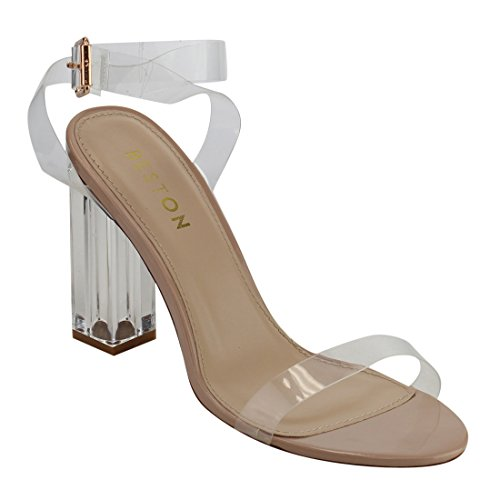 Beston DE44 Women's Strappy Clear Lucite Block Chunky Heel Sandals, Color:NUDE, Size:11