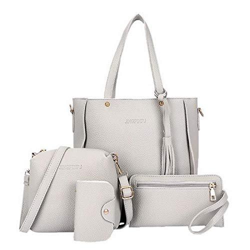 Foulon Women Leather Zipper Handbag Solid Shoulder Messenger Bag Purse Set 4Pcs Bags