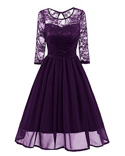 Ever-Beauty Womens Vintage 3/4 Sleeve Lace Chiffon Wedding Party Dress Short Aline Cocktail Swing Dress Purple XX-Large