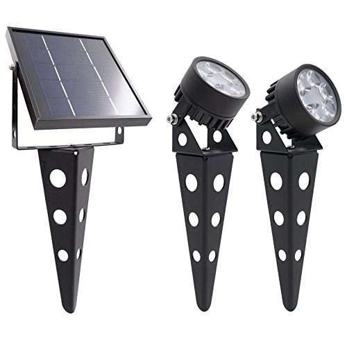 Legacy Mini 50X Twin Solar-Powered LED Spotlight (Warm White LED) for Outdoor Garden Yard Landscape Downlight, Black Finish - Focus Outdoor Spotlight