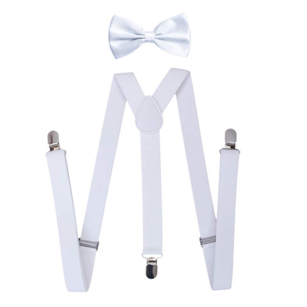 yanbirdfx Solid Color Unisex Clip-on Elastic Y-Shape Adjustable Suspenders Bowtie Set - White