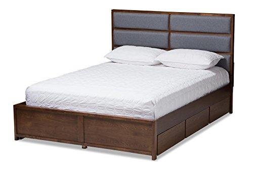 - Baxton Studio 146-424-8195-AMZ Chambray Storage Platform Bed, Queen, Grey/Walnut Brown