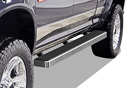 APS iBoard Running Boards 5 inches Custom Fit 2009-2018 Ram 1500 Crew Cab Pickup 4Dr & 2010-2019 Ram 2500 3500 (Nerf Bars Side Steps Side Bars) (2011 Dodge Ram 1500 Slt Quad Cab)