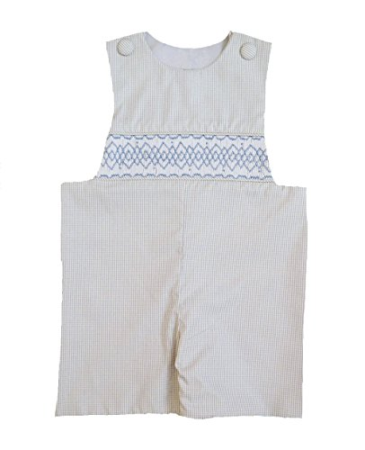 Classic Smocked Boy's Shortall Gray Gingham with Blue Smocking (18 MONTHS)