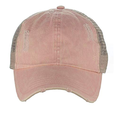 - D&Y Ponyflo Ponytail Messy High Bun Distressed Adjustable Trucker Baseball Cap, Dusty Pink
