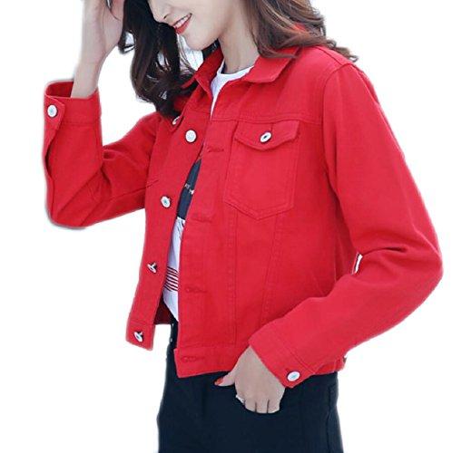 HTOOHTOOH Womens Classic Trucker Jackets Casual Denim Jean Jacket Red XS by HTOOHTOOH