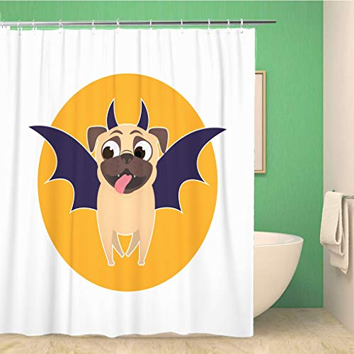 Awowee Bathroom Shower Curtain Pug Dog Dressed Up for Halloween Bat Costume Pet 72x78 inches Waterproof Bath Curtain Set with Hooks]()