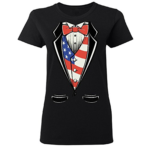 American President Tuxedo American Patriotic Ladies Women's T-shirt USA Independence 4th of July Small