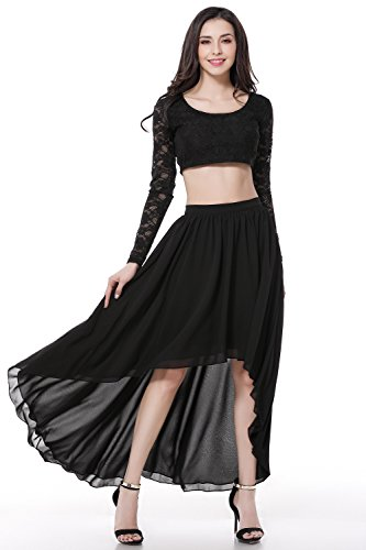 GLOBAL VASION Women's Vintage Maxi Dresses (S, Two Pieces Black)