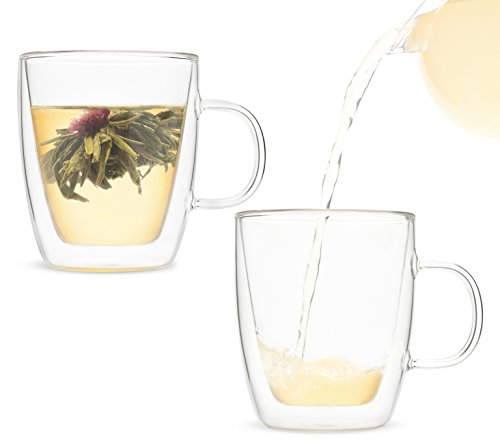 Blooming Tea Set with 16 oz. Insulated Glass Mug for a 3 Pc. Gift (Candied Apple,Creme Brulee)