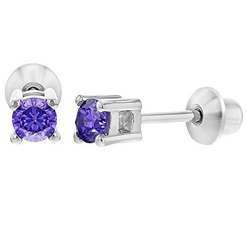 925 Sterling Silver CZ Tiny Round Screw Back Earrings for Toddlers (Screw Back Hoop Earrings)