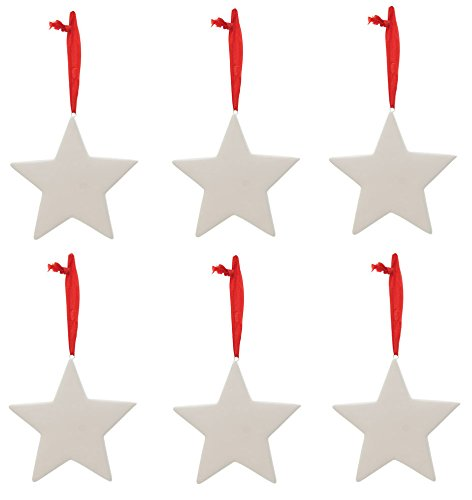 Creative Hobbies Ready To Paint Ceramic Christmas Ornaments, 3.5 Inch Star Shape, Pack of 6