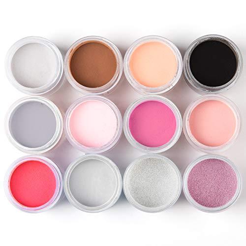 Nail Dip Powder Colors Set Rosalind with 12 Colors Dipping Powder Nails Kit for Protecting Your Nail Bed No UV/LED Nail Lamp Needed