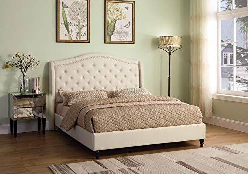 - Best Master Furniture Y131 Sophie Upholstered Tufted Platform Bed, Beige Cal King, California