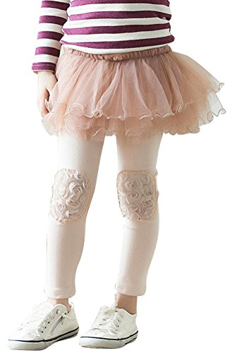 Girls Fleece Lined Tutu Skirt Leggings Pants with Rose Patch Pink 6