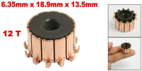 sourcing map 6,35mm x 18,9mm x 13,5mm 12 Zahnrad Zahn Kupfer Schale Elektro Motor Kommutator DE de