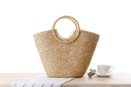 Straw Handbag Red Bag Woven Beach Acmede Women Flower Rose Beige Summer Shopping ZfFtnA