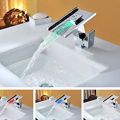 LED Color Changing Contemporary Single Handle Waterfall Chrome Bathroom Sink Faucet