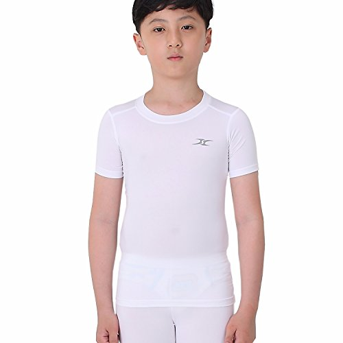 Kids Compression Shirt Underwear Boys Youth Under Base Layer Short Sleeve Top SK WH L