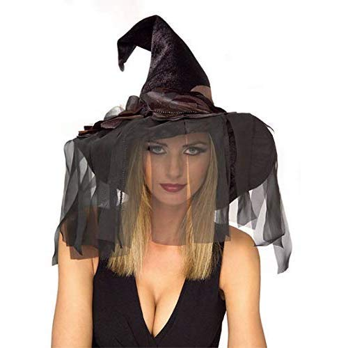 Rubie's Women's Standard Rose Witch Hat with Veils, Black, One Size