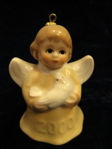 - 2000 Annual Dated Goebel Angel Bell Ornament - Yellow - 25th Edition