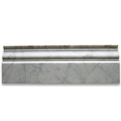 Carrara White Italian Carrera Marble Baseboard Crown Molding 4 x 12 Honed