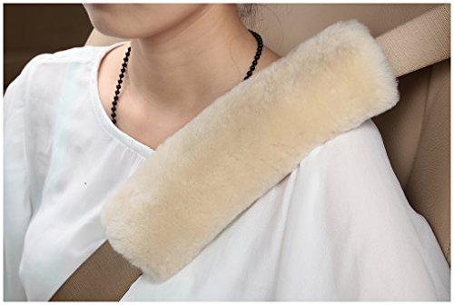 U&M Authentic Sheepskin Auto Seat Belt Cover Shoulder Seatbelt Pad for Adults Youth Kids Toddlers - Car, Truck, SUV, Airplane,Camera Backpack Straps - Genuine High Density Soft Australian Wool