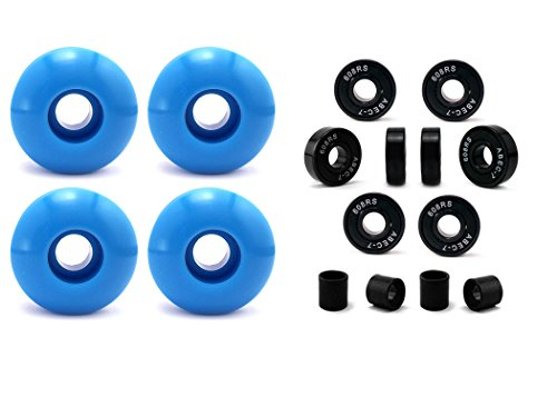 Skateboard Wheel and Bearings, 52mm Skateboard Wheels w/ Abec7 Skateboard Bearings Skateboard Spacers (52mm Sky Blue)