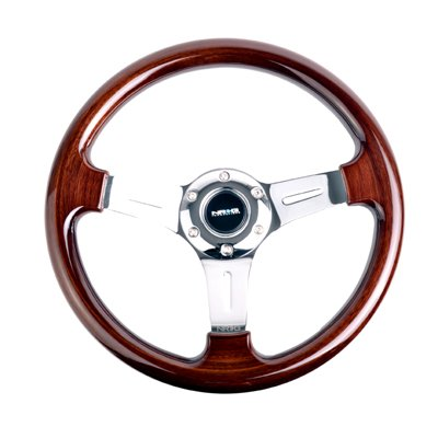 NRG Innovations ST-015-1CH Classic Wood Grain Wheel (330mm, 3 spoke center in chrome), (Woodgrain Steering Wheel)